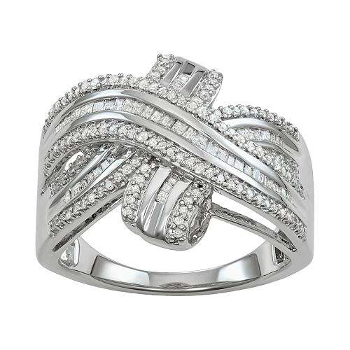 Sterling Silver 1/2 Carat T.W. Diamond Crossover Ring