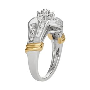 14k Gold Over Silver 1/2 Carat T.W. Diamond Cluster Ring