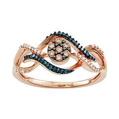 10k Rose Gold 1/4 Carat T.W. Blue, White & Champagne Diamond Ring