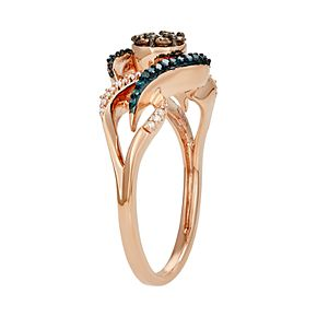 10k Rose Gold 1/4 Carat T.W. Blue, White & Champagne Diamond Ring