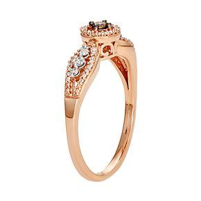 10k Rose Gold 1/4 Carat T.W. Champagne & White Diamond Ring