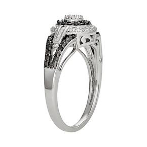 Sterling Silver 1/4 Carat T.W. Black & White Diamond Tiered Ring