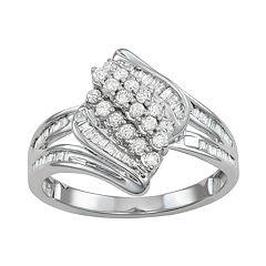 10k White Gold 1/2 Carat T.W. Diamond Cluster Ring
