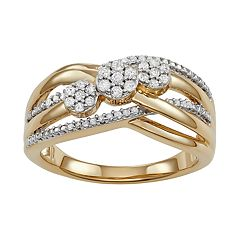 10k Gold Over Silver 1/4 Carat T.W. Diamond 3-Stone Ring