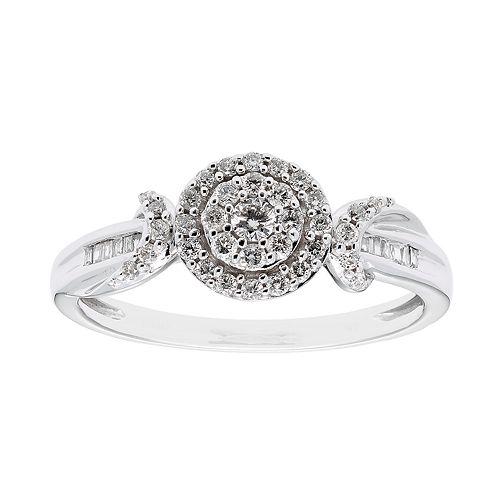 10k White Gold 1/3 Carat T.W. Diamond Halo Ring