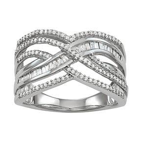 Sterling Silver 1/2 Carat T.W. Diamond Crisscross Ring