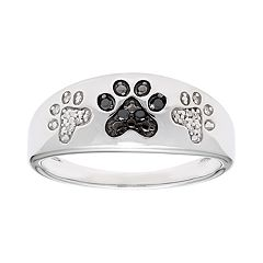 Sterling Silver Black & White Diamond Accent Paw Print Ring