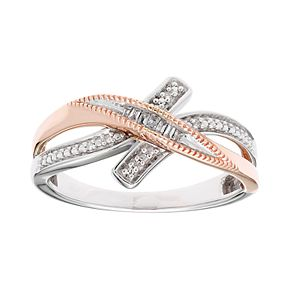 Two Tone Sterling Silver Diamond Accent Crossover Ring