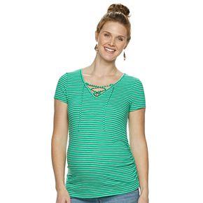 Maternity a:glow Lace-Up V-Neck Top