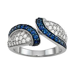 Sterling Silver Lab-Created Sapphire & Cubic Zirconia Bypass Ring