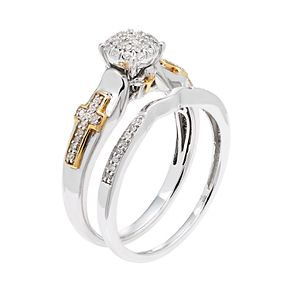 Sterling Silver & 10k Gold 1/5 Carat T.W. Diamond Cluster Engagement Ring Set
