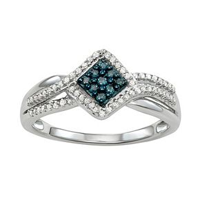 Sterling Silver 1/4 Carat T.W. Blue & White Diamond Ring