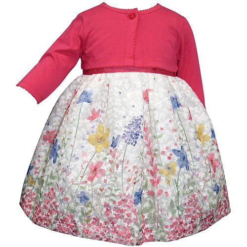 Toddler Girl Blueberi Boulevard Floral Print Dress & Long Sleeve Cardigan