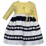Toddler Girl Blueberi Boulevard Striped Daisy Dress & Cardigan Set