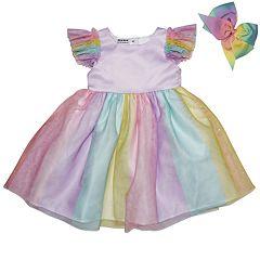 Toddler Girl Blueberi Boulevard Rainbow Tulle Dress & Bow Set