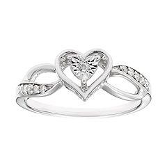 Sterling Silver 1/10 Carat T.W. Diamond Heart Ring