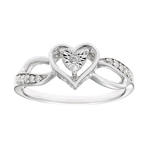 Sterling Silver 1/10 Carat T.W. Diamond Heart Ring