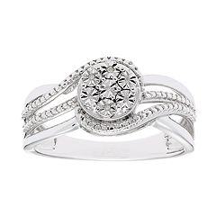 Sterling Silver Diamond Accent Round Cluster Ring