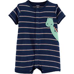 552ffa8015c6 Baby Boy Carter s Striped Animal Applique Romper. Red Stripe Navy Stripe