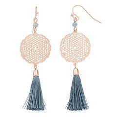 LC Lauren Conrad Filigree Disc Tassel Drop Earrings
