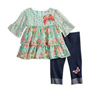 Toddler Girl Little Lass 2-piece Floral Shirt & Capri Set