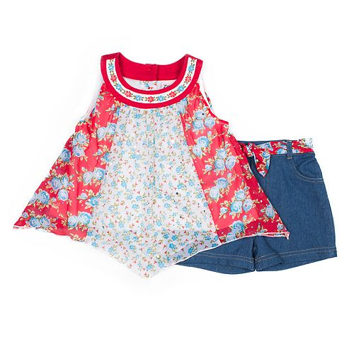 Toddler Girl Little Lass Pieced Tank Top & Shorts Set