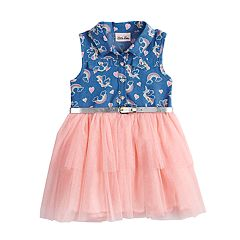 Toddler Girl Little Lass Rainbow Chambray Tulle Dress
