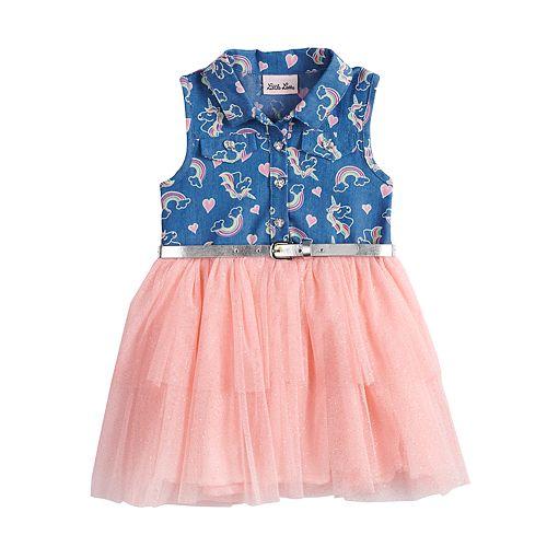 Toddler Girl Little Lass Rainbow Chambray Tulle Dress