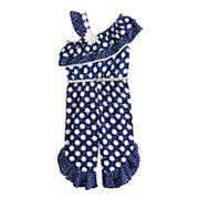 Toddler Girl Little Lass Polka-Dot Jumpsuit