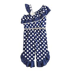 Toddler Girl Little Lass Polka-Dot Jumpsuit