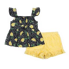 Toddler Girl Little Lass Lemons Tank Top & Shorts Set