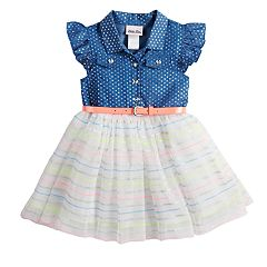 Toddler Girl Little Lass Foiled Dot Chambray Dress