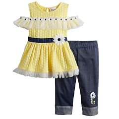 09dff4ef4a5bd Baby Girl Daisy Cold-Shoulder Top   Jeggings Set