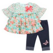 Baby Girl Little Lass 2-piece Floral Shirt & Capri Set