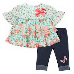 636e1ead36b70 Baby Girl Little Lass 2-piece Floral Shirt & Capri Set