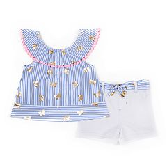 Baby Girl Little Lass Foiled Butterfly Tank Top & Shorts Set