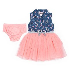 5c4d60475d6 Baby Girl Little Lass Rainbow Chambray Tulle Dress