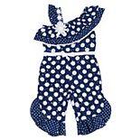 Baby Girl Little Lass Polka-Dot Jumpsuit