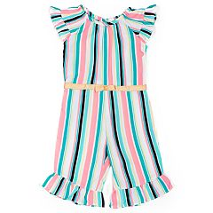 Baby Girl Little Lass Striped Jumpsuit