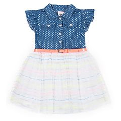 Baby Girl Little Lass Foiled Dot Chambray Dress