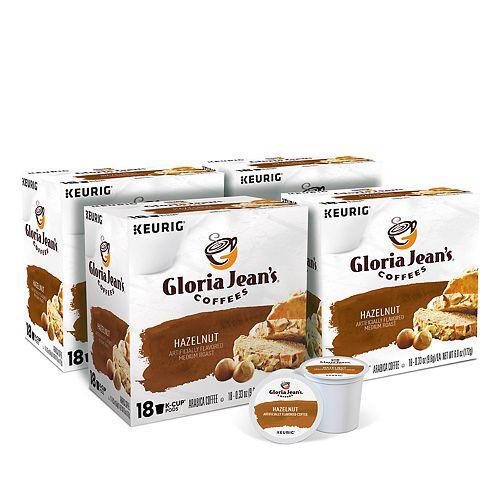 Gloria Jean's Hazelnut Flavored Coffee, Keurig® K-Cup® Pods, Medium Roast, 72 Count
