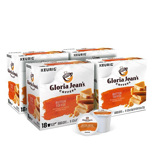 Gloria Jean's Butter Toffee Flavored Coffee Keurig® K-Cup® Pods, Medium Roast, 72 Count