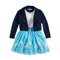 Girls 4-6x Knitworks Belted Unicorn Dress & Moto Jacket Set