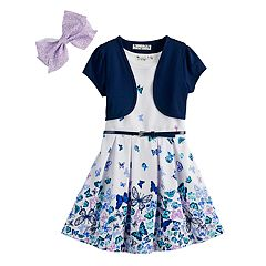 Girls 4-6x Knitworks Butterfly Dress, Shrug & Bow Set