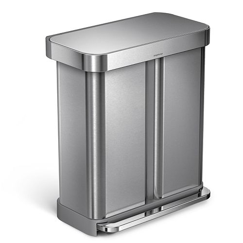 simplehuman 15-gallon Dual-Compartment Rectangular Step Trash Can