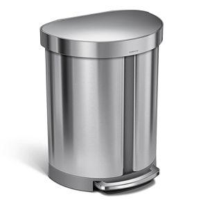 simplehuman 14.5-Gallon Dual-Compartment Semi-Round Step Trash Can