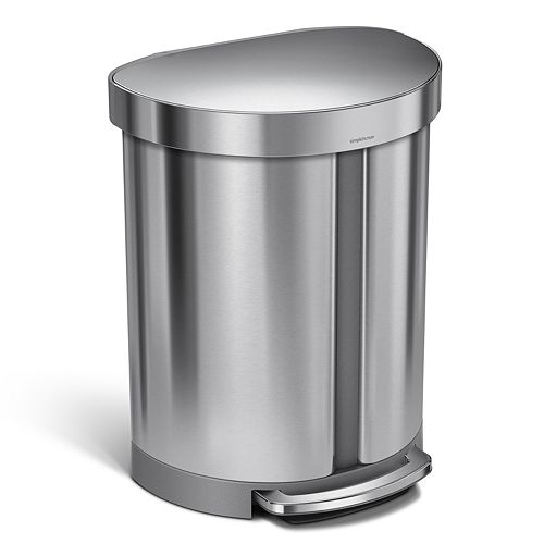 simplehuman 14.5-Gallon Dual-Compartment Semi-Round Step Trash Can