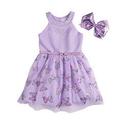 Girls 4-6x Knitworks Sequined Butterfly Skater Dress & Bow Set
