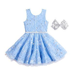 Girls 4-6x Knitworks Sequin Soutache Skater Dress & Bow Set