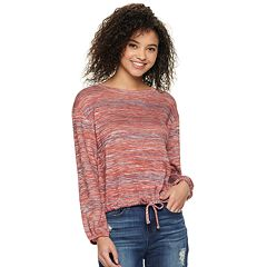 Juniors' Mudd® Long Sleeve Tie Front Textured Tee